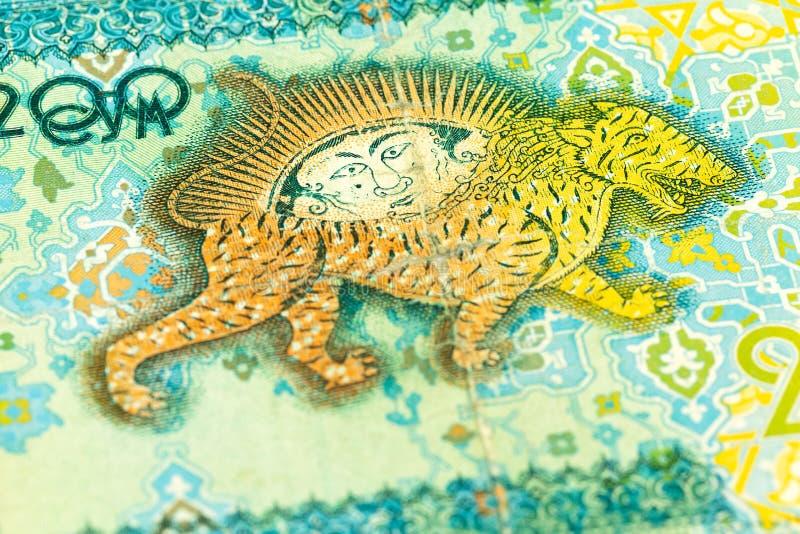 Dettaglio di un complemento della banconota del som di 200 usbek fotografia stock
