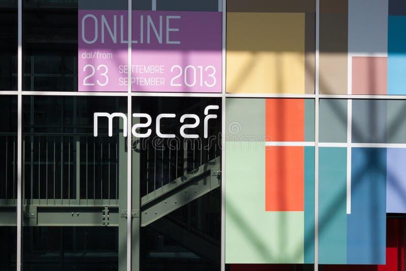 Dettaglio di una costruzione che ospita manifestazione della casa di Macef a Milano fotografia stock libera da diritti