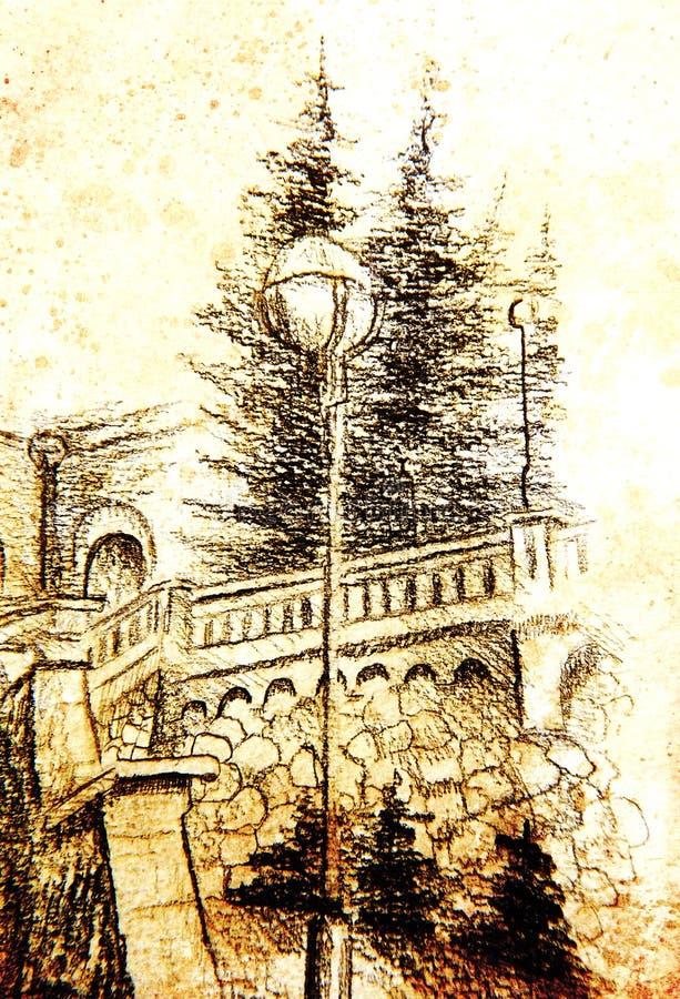 Dettaglio di una lampada di via in vecchia città, disegno a matita, effetto di colore su fondo astratto royalty illustrazione gratis