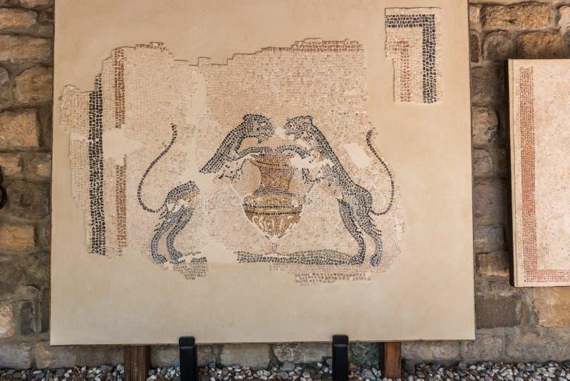 Dettaglio di una parete antica sulla mostra immagini stock