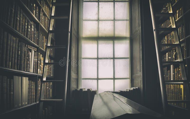 Dettaglio di vecchia biblioteca classica immagine stock libera da diritti