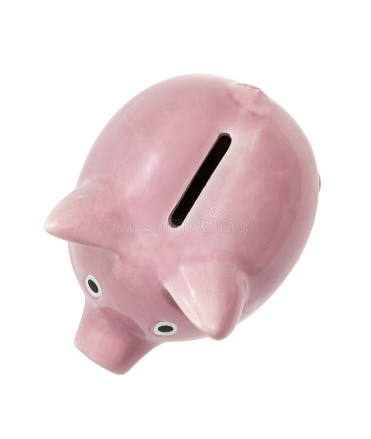 Dettaglio rosa d'annata della scanalatura di moneta del porcellino salvadanaio fotografie stock