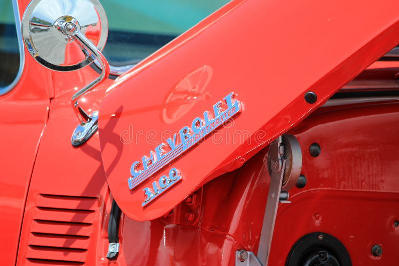 Dettaglio rosso d'annata della raccolta di Chevy immagini stock