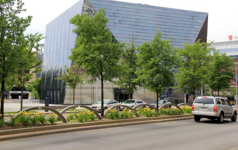 Dettaglio strabiliante in museo della costruzione di arte contemporanea, Cleveland, Ohio, 2016 immagine stock libera da diritti