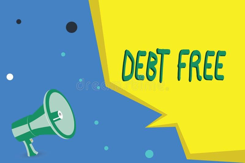DETTE d'écriture des textes d'écriture GRATUITE Concept signifiant la liberté financière ne devant pas à tout argent des affaires illustration de vecteur