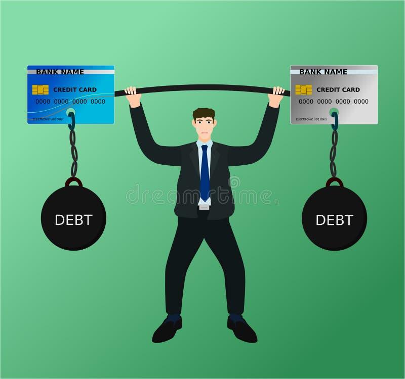 Dette de carte de crédit de barbell d'ascenseur d'homme d'affaires avec la difficulté illustration libre de droits