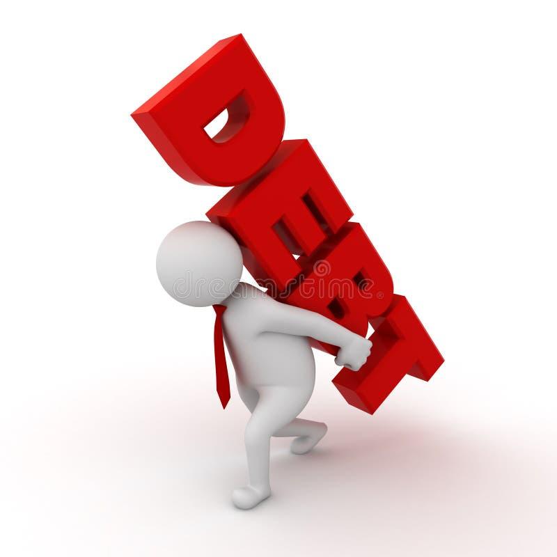 dette de transport de mot de l'homme 3d sur le sien en arrière illustration libre de droits
