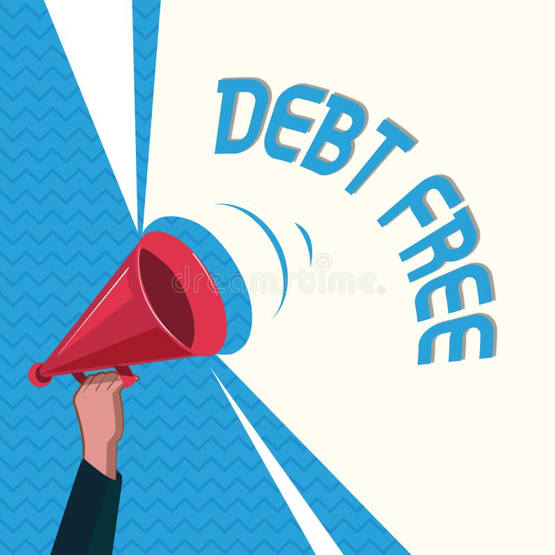 DETTE des textes d'écriture de Word GRATUITE Concept d'affaires pour la liberté financière ne devant pas à tout argent des affair illustration libre de droits