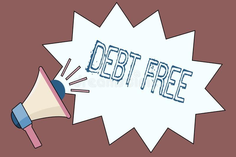 DETTE des textes d'écriture GRATUITE Concept signifiant la liberté financière ne devant pas à tout argent des affaires réussies illustration stock