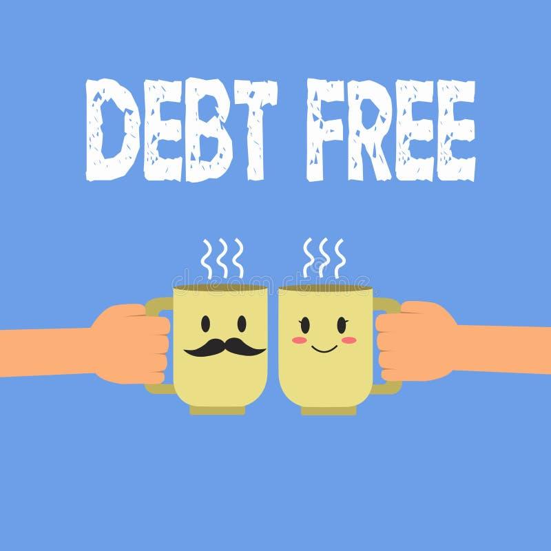 DETTE des textes d'écriture GRATUITE Concept signifiant la liberté financière ne devant pas à tout argent des affaires réussies illustration de vecteur
