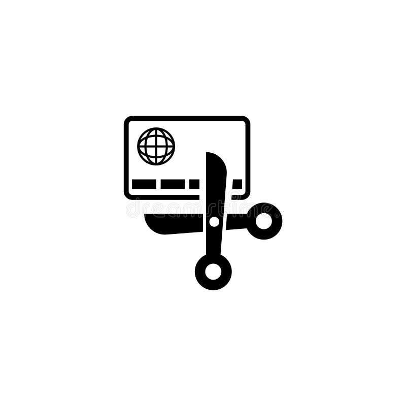 Dette gratuite, ciseaux et icône plate de vecteur de carte de crédit illustration stock