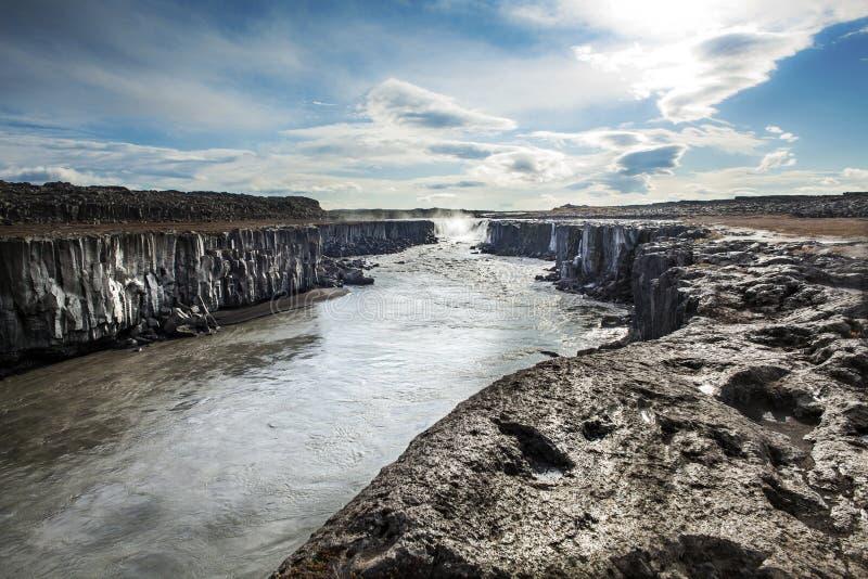 dettifoss冰岛瀑布 库存图片