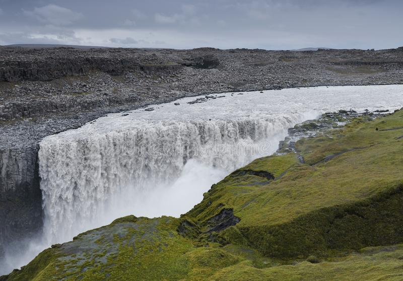 Dettifoss waterfall - the most powerful waterfall in Europe. stock images