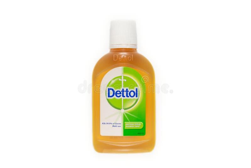 Dettol Antibacterial desinfektionsmedel isolerad vit bakgrund royaltyfria bilder