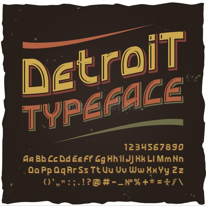 detune Wektorowy rocznika typeface royalty ilustracja