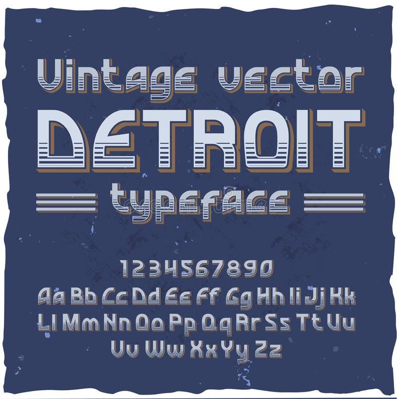detune Wektorowy rocznika typeface ilustracja wektor