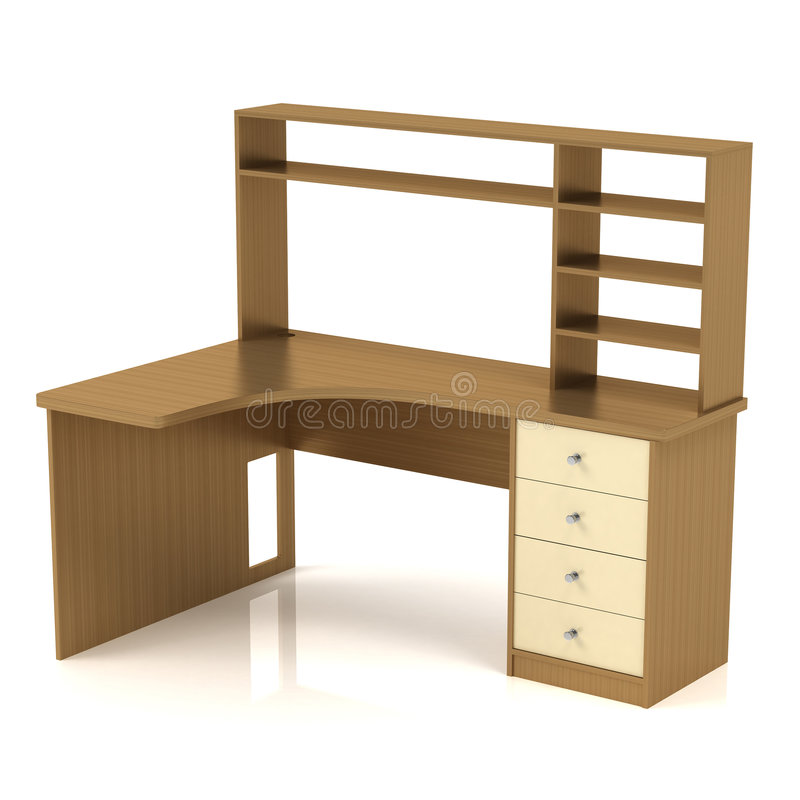 Dety Desk. Worktable with a shelf and a drawer pedestal. 3D render stock illustration