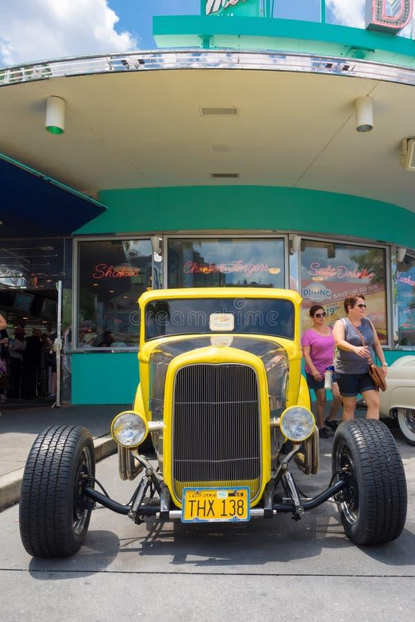 1932 Deuce Coupe at Universal Studios Florida. ORLANDO,USA - AUGUST 23, 2014 : 1932 Deuce Coupe antique car at Universal Studios Florida theme park royalty free stock photo
