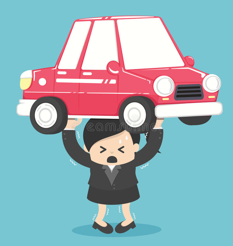 Deuda de la mujer de negocios del concepto del coche ilustración del vector