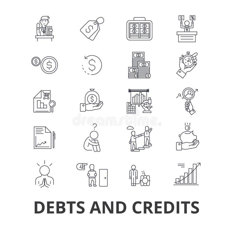 Deudas y créditos, dinero, quiebra, cuenta, riqueza, finanzas, línea financiera iconos del colector Movimientos Editable plano libre illustration