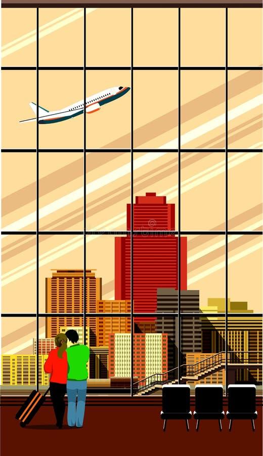 Deudos del edificio del aeropuerto ilustración del vector