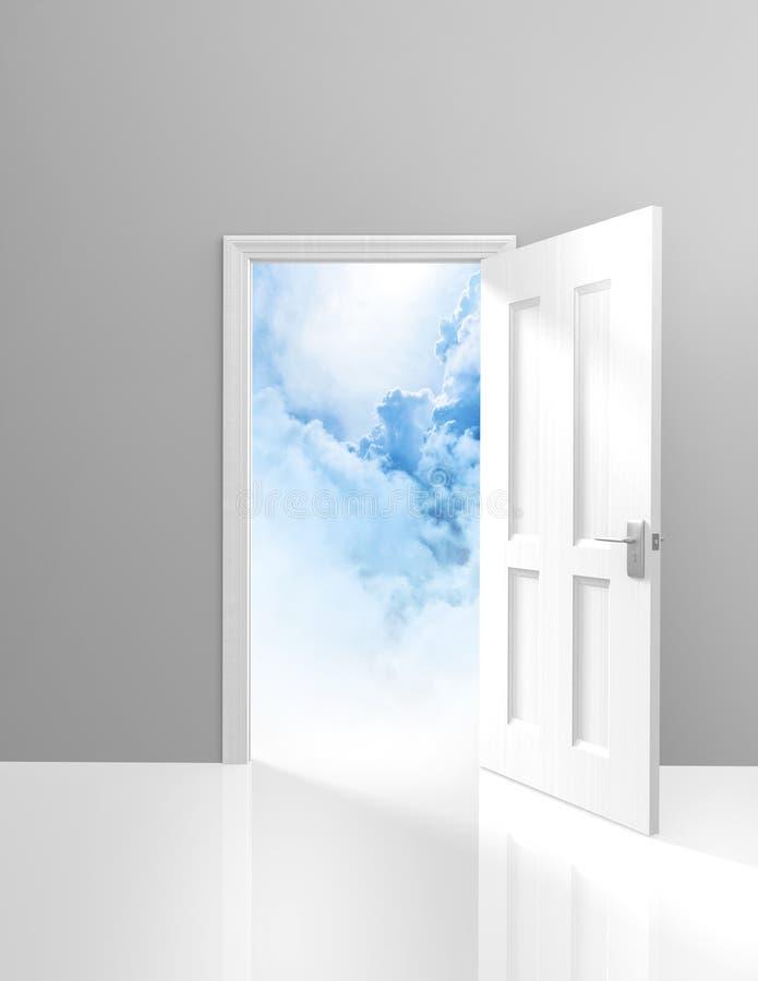 Deur aan hemel, spiritualiteit en verlichtingsconcept een open deuropening aan dromerige wolken vector illustratie