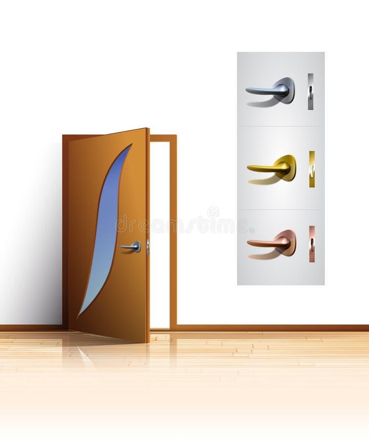 Deur en deurhandvatten stock foto