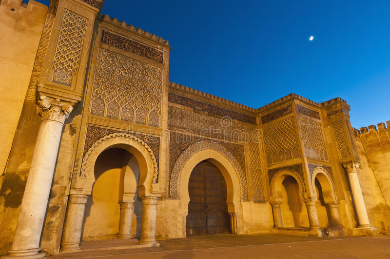 Deur Nouar van Jama van Bab de Engelse in Meknes, Marokko royalty-vrije stock fotografie