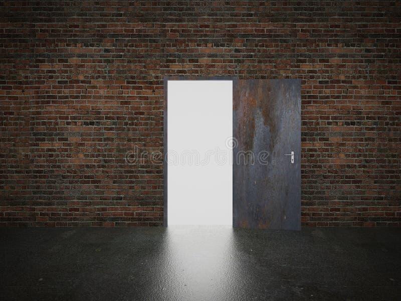 Deur open op 3d bakstenen muur, vector illustratie