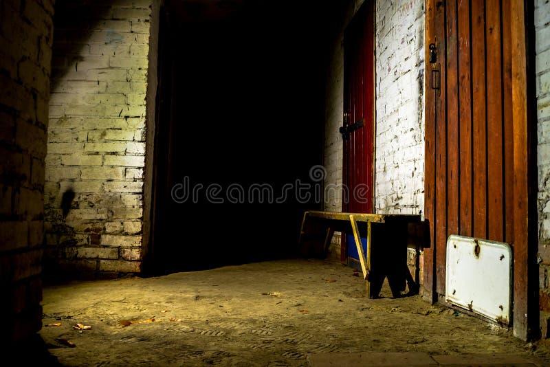 Deur van de de lamp de lichte nacht van de kelderkluis stock afbeeldingen