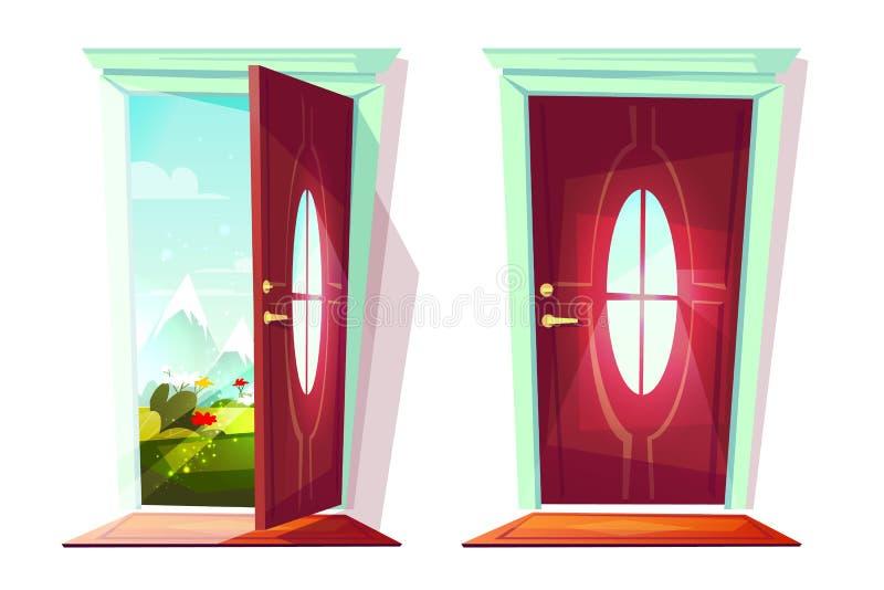 Deur van de vectorillustratie van de huisingang royalty-vrije illustratie