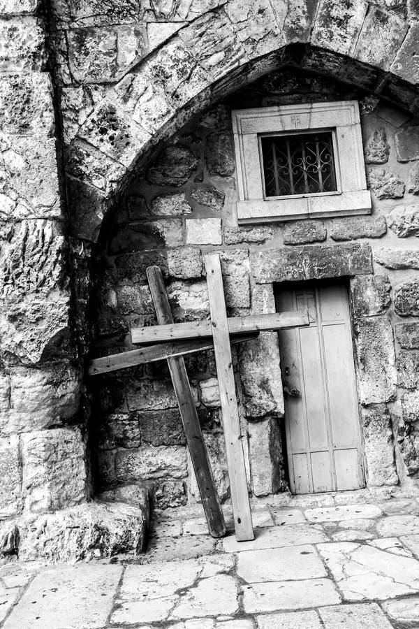 Deur van Kerk van het Heilige Grafgewelf jeruzalem israël Sluit omhoog beeld stock foto's