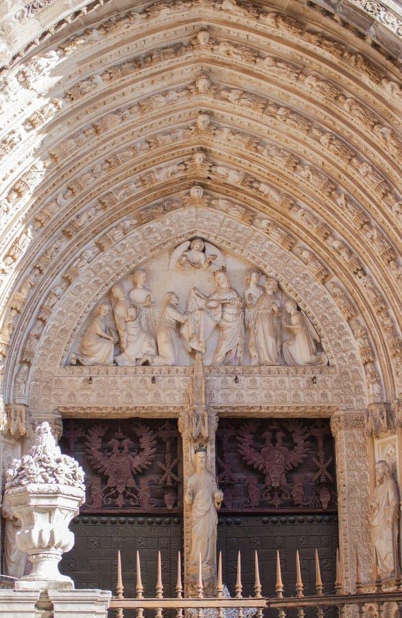 Deur van vergiffenis, kathedraal van Toledo stock foto's