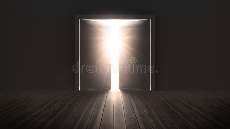Deuren die een helder licht openen te tonen stock illustratie