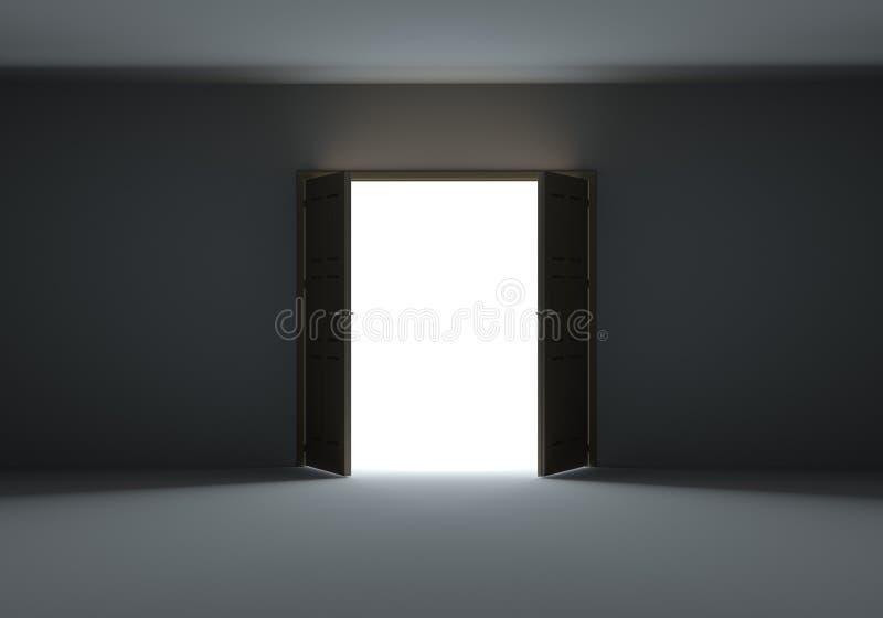 Deuren die helder licht in de duisternis openen te tonen royalty-vrije stock afbeelding
