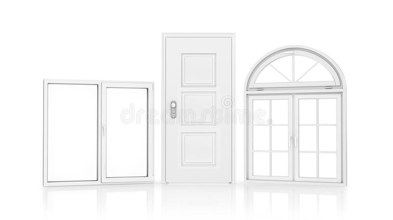 Deuren en vensters stock illustratie