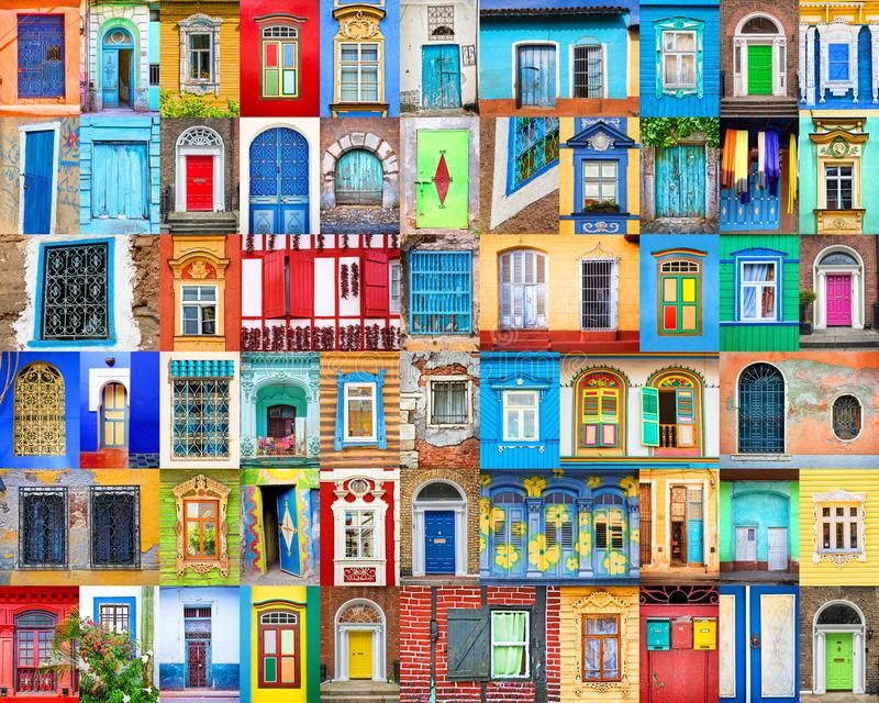 Deuren en vensters van de wereld Kleurrijke collage, reisconcept stock foto's
