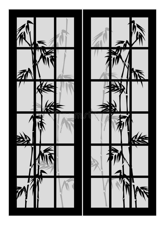 Deuren met bamboe royalty-vrije illustratie