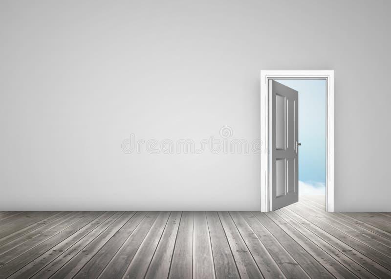Deuropening die voor blauwe hemel in grijze ruimte openen stock illustratie