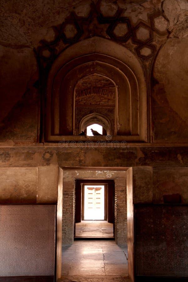 Deuropening met Duif Agrafort, Delhi stock fotografie