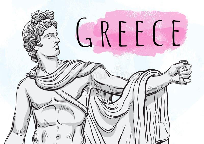 Deus Apollon O herói mitológico de Grécia antigo Tesouro nacional antiquity Arte finala bonita desenhado à mão do vetor ilustração stock