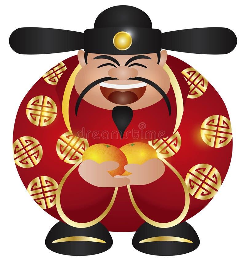 Deus Chinês Do Dinheiro Da Prosperidade Com Laranjas Imagens de Stock Royalty Free
