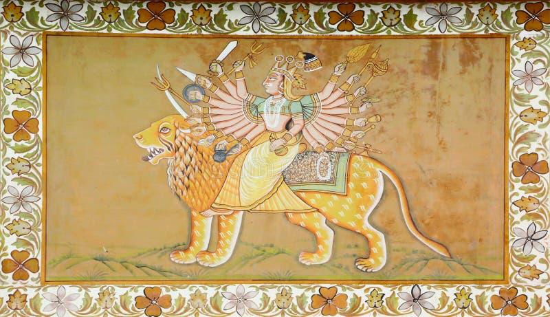 Deus de Hinduist que monta um leão na pintura indiana imagens de stock