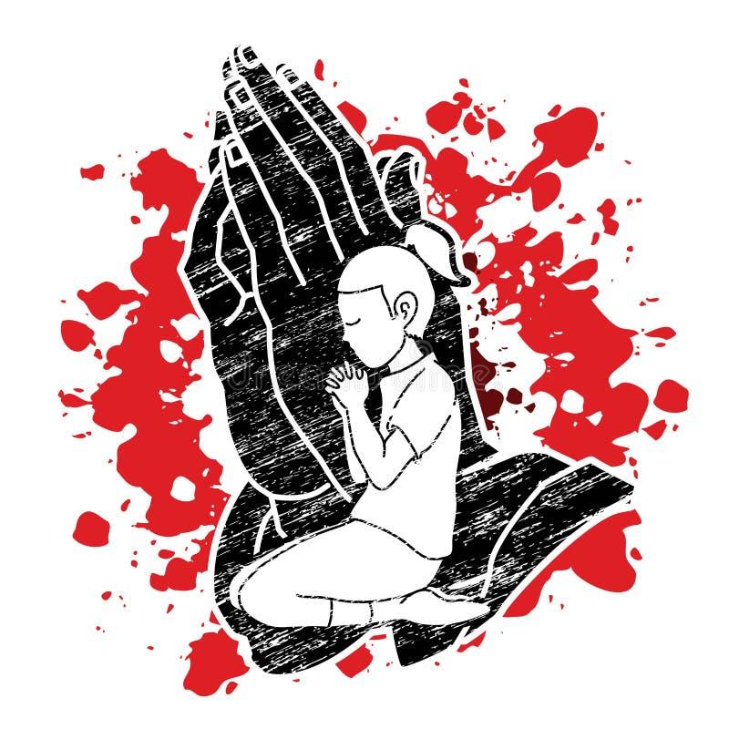 Deus do elogio da menina, oração, cristão que reza, obrigado gráfico do DEUS ilustração do vetor