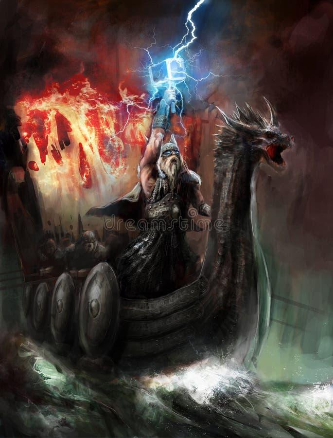 Deus do relâmpago ilustração royalty free