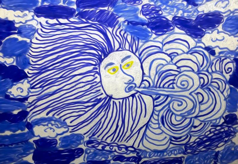 Deus do vento no céu ilustração do vetor