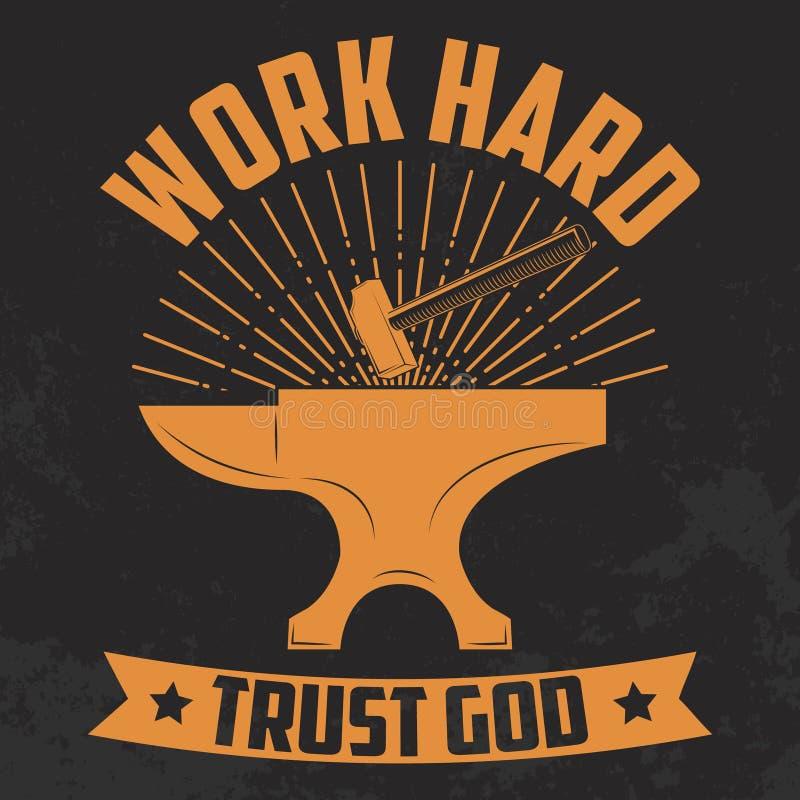 Deus duro da confiança do trabalho amarelo Batente e martelo ilustração royalty free