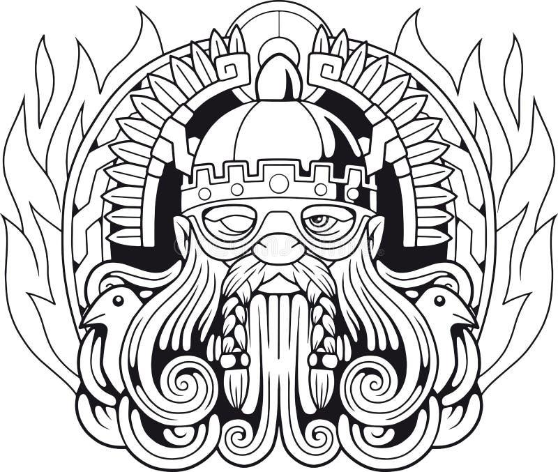 Deus escandinavo Odin, ilustração ilustração royalty free