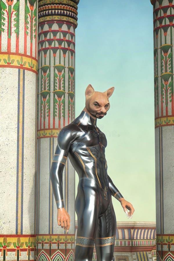 Deus estrangeiro do gato na fantasia de Egito antigo ilustração do vetor