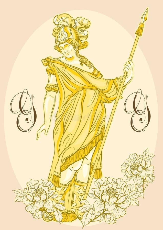 Deus grego, herói mitológico de Grécia antigo Arte finala bonita desenhado à mão do vetor isolada classicism Mitos e legendas ilustração stock